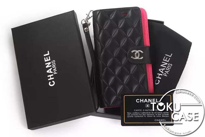 chanel Iphone8ケース レザー カード入れ ミラー付き レディース