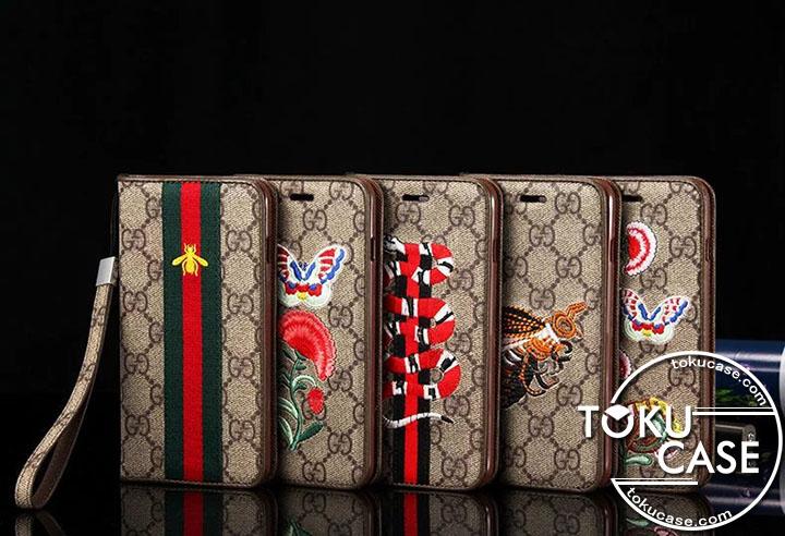 グッチ iPhone8ケース 手帳 刺繍
