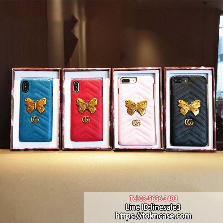 グッチ iphonexケース 蝶々